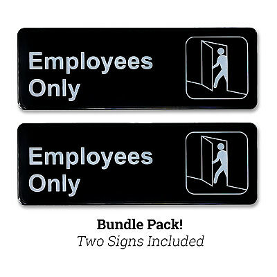 "Employees Only 3"" H x 9"" W Plastic Business Policy Sign Self Adhesive Back Black"