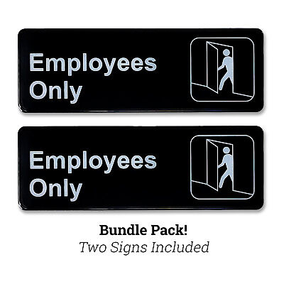 PACK OF 2 - Employees Only Business Sign w/ Adhesive Back - 9 inches x 3 inches