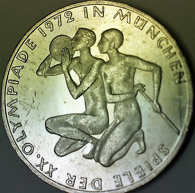 1972 J German 10 Marks Silver Coin Olympic Games Commemorative Munich Couple