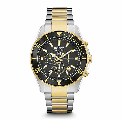 Bulova Mens Silver & Gold Finish Marine Star Stainless Steel Chronograph Watch
