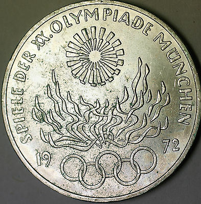 1972 J German 10 Marks Silver Coin Olympic Games Commemorative Flame Spiral AU