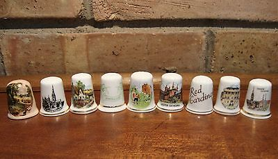 9 Porcelain Collector  Thimbles - Cathedrals, Castles, England, Europe Thimble