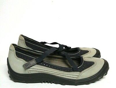 Lands End Mary Jane Shoes Grey Navy Gray Blue Comfort Flats Women's 7.5 Loafers