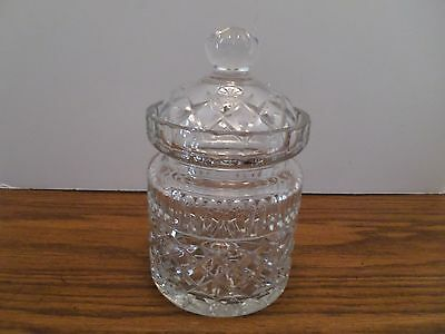 """Cut Glass or Crystal Biscuit Barrel Large Jar with Lid 7"""" to top 4"""" across"""