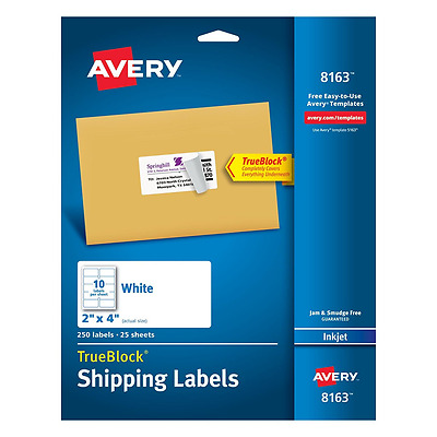 Avery Shipping Labels with TrueBlock Technology, 2 x 4, White, 250/Pack, PK -