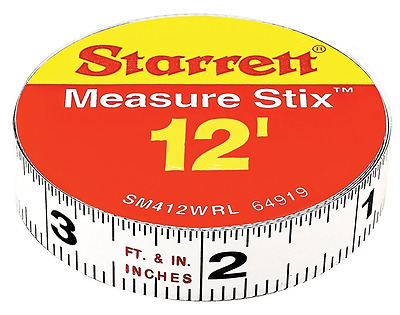 Starrett Measure Stix SM412WRL Steel White Measure Tape with Adhesive Backing