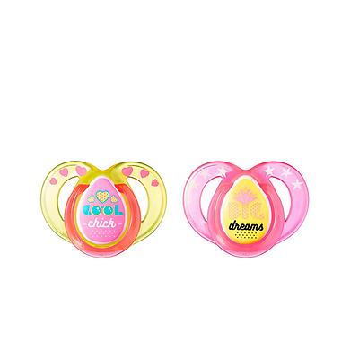 Tommee Tippee Closer To Nature Everyday Pacifier, Pink, 6-18 Months, 2 Count