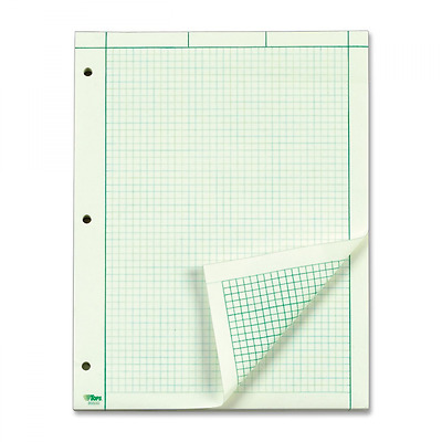 TOPS Engineering Computation Pad, Quad Rule, Letter Size, Green Tint, 100