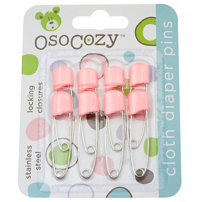 OsoCozy Diaper Pins - {Pink} - Sturdy, Stainless Steel Diaper Pins with Safe