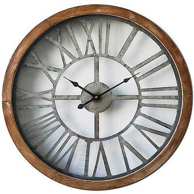 NEW Rustic Metal Face Brown Wooden Frame Wall Clock, 60cm