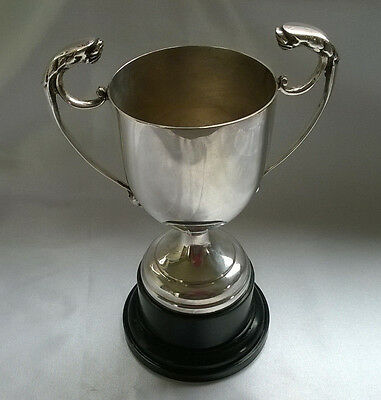 Vintage Trophy Cup Silver Plated Leopard Head Handles Black Base  (Not Engraved)