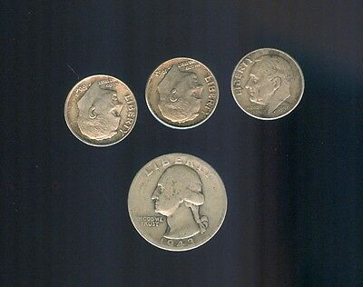 1943-D Washington Quarter, 3-Roosevelt Dimes, 1959-D,1962-D,1964