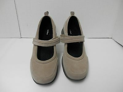Womens LL Bean Light Tan Suede Mary Jane Shoe- Size 9 Wide