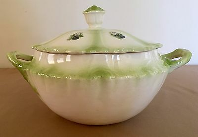 Vintage Cream And Green Ceramic Soup Tureen With Lid