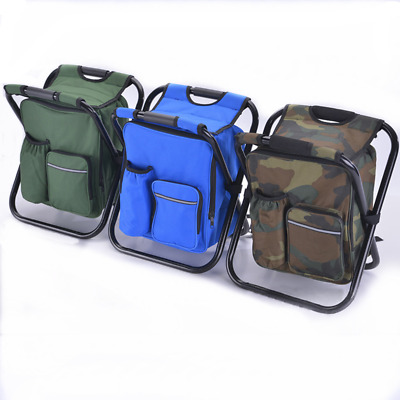 Multi-Function Backpack Foldable Chair Bench Camping Storage Cooler Bag Beach