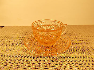 Jeannette Depression Glass Holiday Pink Cup & Saucer Set
