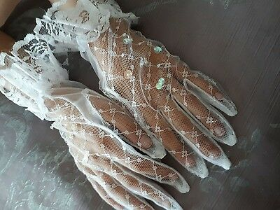 Age 9 girls Lace Gloves First holy Communion Wedding Flower Girl fancy dress