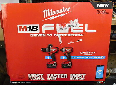 Milwaukee 2796-22 M18 Fuel One-Key 2-Tool Combo Kit Hammer Drill/impact Driver