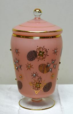 Beautiful Vintage Light Pink Glass Jar w. Gold Star Designs & Ornate Rhinestones