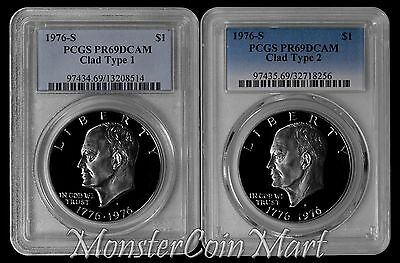 1976-S Clad Type 1 and Clad Type 2 Eisenhower Dollar PCGS PR69DCAM - 2 PIECE SET