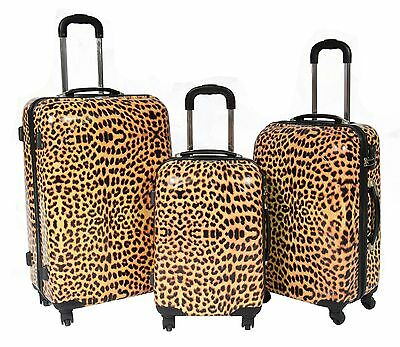 Strong Luggage Suitcase Travel Trolley Leopard Print Lightweight 4 Wheel Spinner
