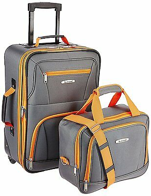 Set 2 Deluxe Carry Ons Luggage Suitcase Wheeled Rolling Travel Tote Bag Case