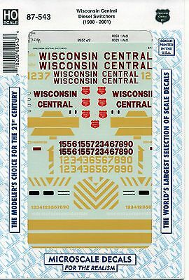 HO Scale Microscale 87-543 WC Wisconsin Central SW1500 Diesel Switcher Decal Set