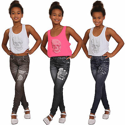 Thermo Children Leggings Rose Jeans Pants Print Destroyed Bear 786