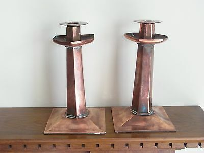 A Good Pair Of Arts And Crafts Copper Candlesticks 24.5Cms