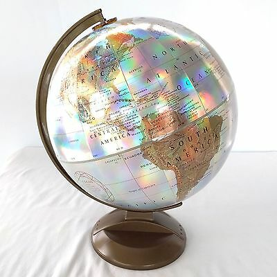 "Replogle World Prism Globe Raised Relief Vntg 12"" Diameter Rainbow Reflections"
