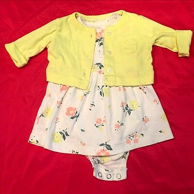 Carter's Baby Girl 3 Months Dress And Cardigan Set Floral Yellow