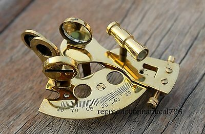 Solid Brass Sextant Handmade Mini Astrolabe Maritime Nautical Ship Sextant Decor