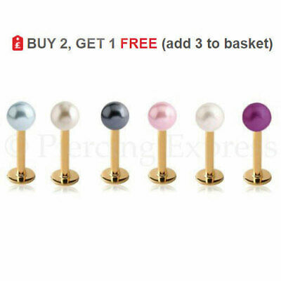 GOLD Labret Stud Lip Bar 316L Steel Monroe 16G 6-12mm Piercing Faux PEARL Ball