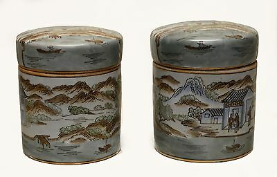 Pair of Vintage Cylindrical Porcelain Jars w. Hand Painted Oriental Landscapes