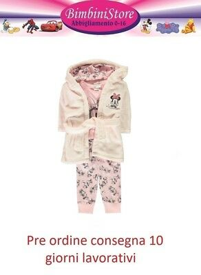 Completo neonata  minnie vestito con body e collant set 3 pezzi originale disney