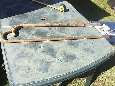 2 X Old Vintage Wooden Walking Sticks From Barn Clearance