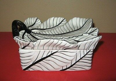 Vintage Itatlin Ceramic Porcelain Black And White Leaf Trinket Box Italy