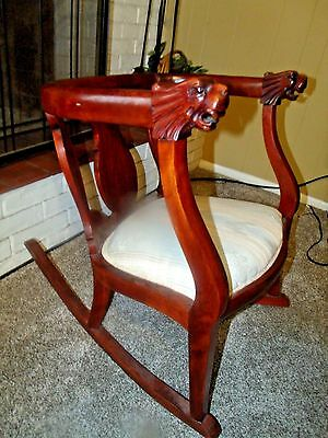 Nice Antique Carved and Substantial Mahogany Lion Head Rocking Chair Early 1900s