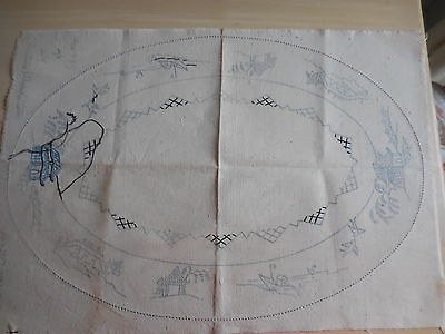 Wartime Production No Ls164 Linen Blue Willow To Complete Needlework  Rare