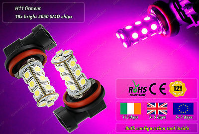 2x H11 LED HID Pink Purple Fog Lights Xenon Projector Car Bulbs DRL Lamps 12v