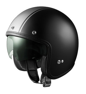 GLX DOT Open Face Scooter Bobber Motorcycle Helmet w/ Shield Matte Gray Stripe