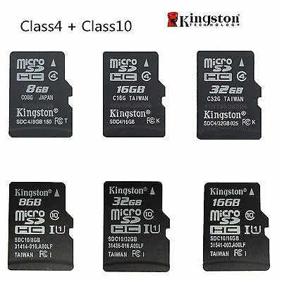 Kingston 8GB 16GB 32GB 64GB Micro SD SDHC TF Class 4 Class 10 Flash Memory Card