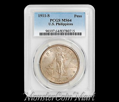 1911-S Peso PCGS MS64 - United States Philippines (USPI) - ONE OF THE BEST 10 !!