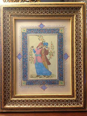Persian Handmade Painted Khatam Frame Inlaid Marquetry Mosaic Man/Women Lovers
