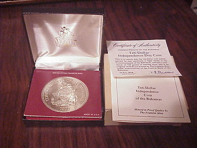 Huge, Proof, 1976,.925 Sterling Silver, Franklin Mint, Bahamas, $10.00 Comm.Coin