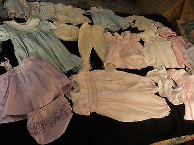 lot 15 vintage baby clothes: smocked dresses, bonnet