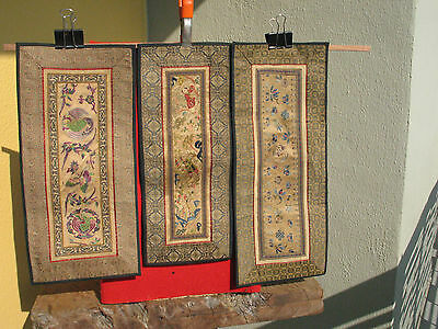 A1423 Lot of 3 Vintage Chinese Hand Embroidered Silk Panels