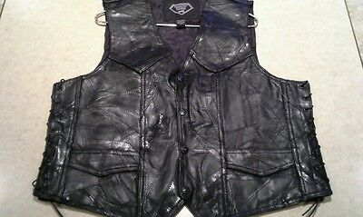 Men's Diamond Plate Buffalo Leather Motorcycle Vest Size Large Genuine Western