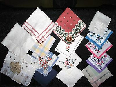 LOT 15 VINTAGE Hankies Handkerchiefs Embroidered Print Floral 1 Lady Heritage