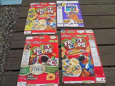 Lot of 4 Kellogg's cereal boxes Bigg Mixx, Froot Loops with Golden Bars